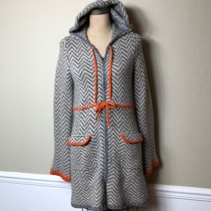 Anthropologie zip patterned hooded sweater